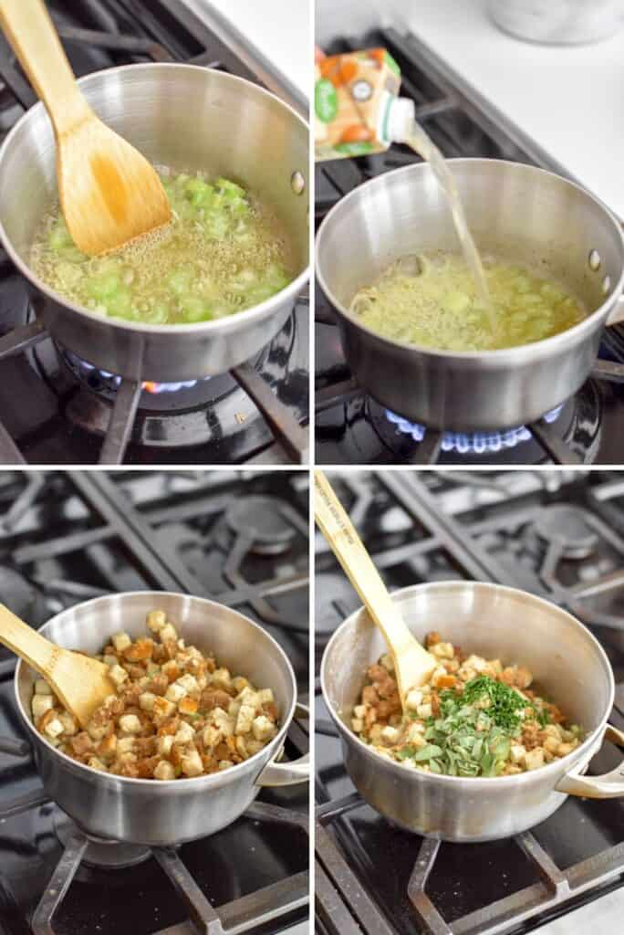 Four photo collage showing the process of making stuffing on the stovetop