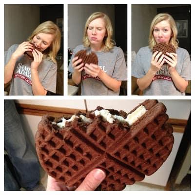 Leslie eating a giant chocolate waffle ice cream sandwich