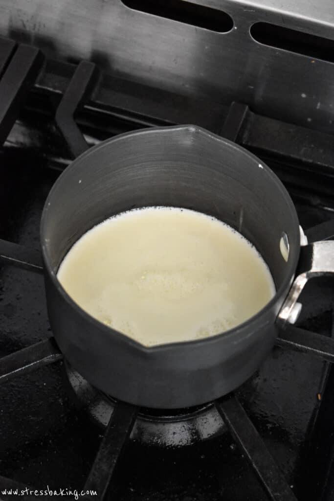 Heavy cream in a small saucepan