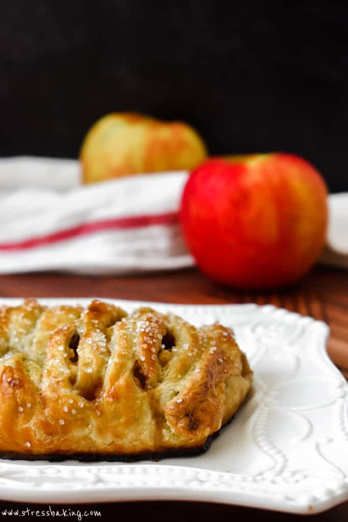 Closeup of apple strudel on a white decorative platter with apples in the background