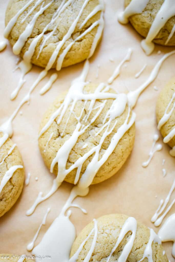 Maple sugar cookies with maple icing drizzled over the tops