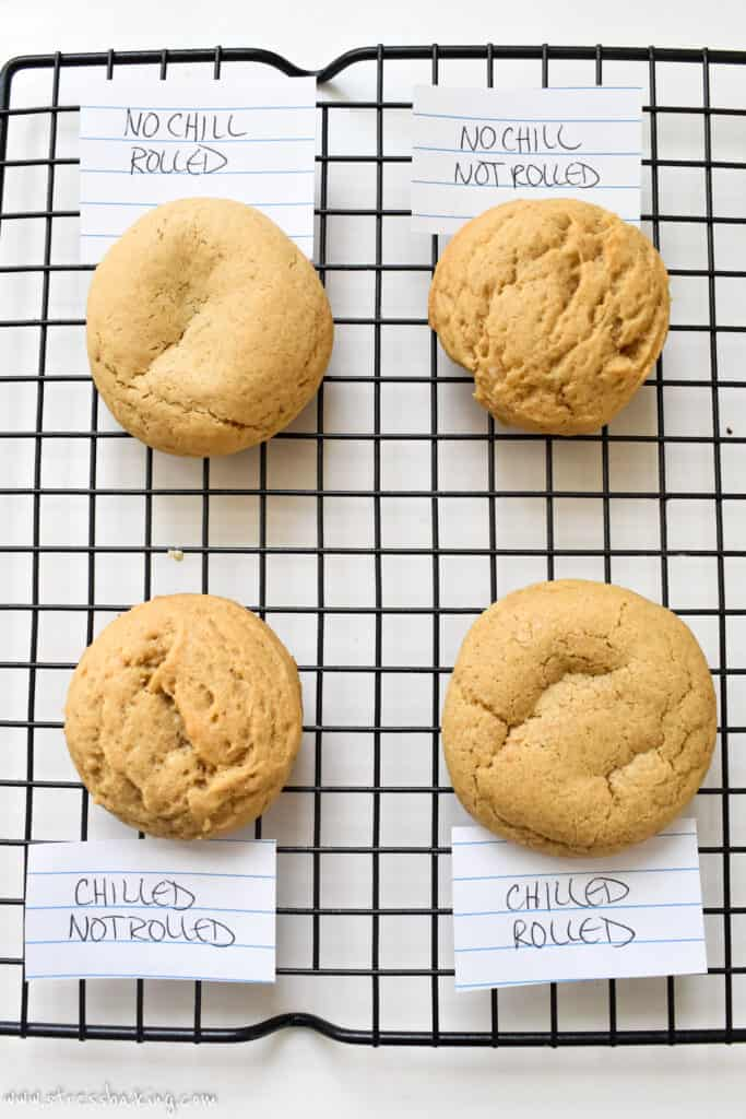 Four different ways of preparing and baking the same cookie